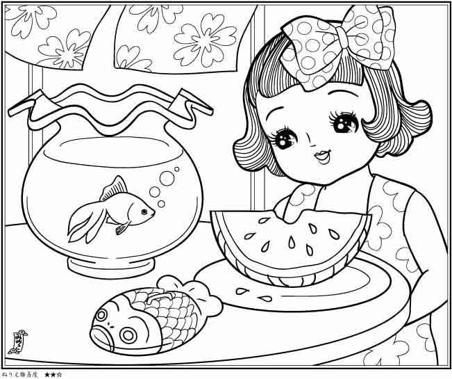 イラスト 12月 イラスト 塗り絵 : ぬりえ7月 脱稿: みみこ の パン ...